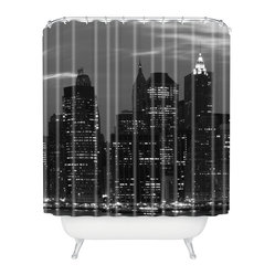 Leonidas Oxby New York Financial District Shower Curtain - Shower yourself with the riches of Wall Street. New York's famous financial district lights up the night and your bathroom in graphic gray, black and white printed on woven polyester. Ring the bell — and your tub — with style.