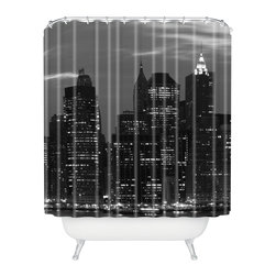 DENY Designs - Leonidas Oxby New York Financial District Shower Curtain - Shower yourself with the riches of Wall Street. New York's famous financial district lights up the night and your bathroom in graphic gray, black and white printed on woven polyester. Ring the bell — and your tub — with style.