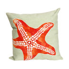 """Trans-Ocean Inc - Starfish Seafoam 20"""" Square Indoor Outdoor Pillow - The highly detailed painterly effect is achieved by Liora Mannes patented Lamontage process which combines hand crafted art with cutting edge technology. These pillows are made with 100% polyester microfiber for an extra soft hand, and a 100% Polyester Insert. Liora Manne's pillows are suitable for Indoors or Outdoors, are antimicrobial, have a removable cover with a zipper closure for easy-care, and are handwashable.; Material: 100% Polyester; Primary Color: Orange;  Secondary color: seafoam; Pattern: Starfish; Dimensions: 20 inches length x 20 inches width; Construction: Hand Made; Care Instructions: Hand wash with mild detergent. Air dry flat. Do not use a hard bristle brush."""