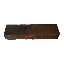"Punky Hill - Distressed Wooden Shelf W/ Hand Hewn Detail & Bourbon Pecan Finish - Punky Hill distressed shelves are known for their aged character.  This shelf is 36"" long, 6"" wide and 3"" tall."