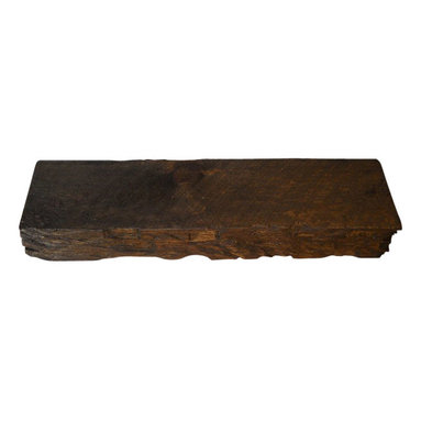 """Punky Hill - Distressed Wooden Shelf W/ Hand Hewn Detail & Bourbon Pecan Finish - Punky Hill distressed shelves are known for their aged character.  This shelf is 36"""" long, 6"""" wide and 3"""" tall."""