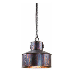 Uttermost - Giaveno 1-Light Oxidized Bronze Pendant - There's nothing quite like an old, antique brass can hanging from your ceiling. Carolyn Kinder has done it again. The oxidized bronze finish, the rings and the rivets give this pendant light all of the character, and none of the fuss.