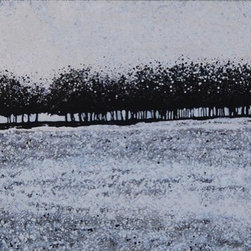 Abstract Landscape In Black And White (Original) by Jen - This painting has layers and layers of spatters in black, white, pewter and silver.