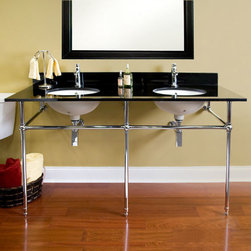 "Bathroom Vanities - 60"" Art Deco Double Console Sink with Undermount Bowls, Signature Hardware"