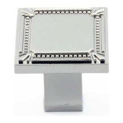 Richelieu Hardware - Richelieu Classic Metal Square Knob Decorative Trim 35mm Nickel - Richelieu Classic Metal Square Knob Decorative Trim 35mm Nickel