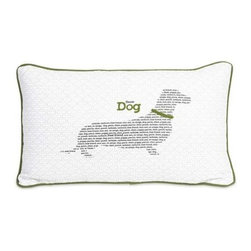 "Haute Dog Pillow - No matter what language, our dogs are our best friends. This ""Haute Dog"" pillow features green trim and embroidered accents over a dachshund silhouette... pun intended."