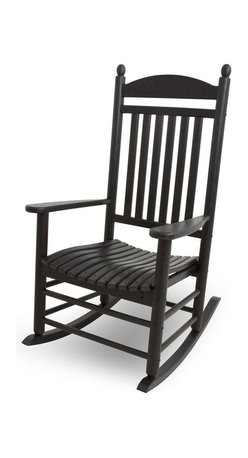 Polywood - Eco-friendly Rocker in Black - This rocker is enhanced with unique detailing that gives it both warmth and sophistication. It wont splinter, crack, chip, peel or rot and it never needs to be painted, stained or waterproofed. Polywood lumber requires no painting, staining, waterproofing, or similar maintenance. It is resistant to corrosive substances, insects, fungi, salt spray and other environmental stresses.