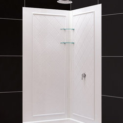 """DreamLine - DreamLine SlimLine 42"""" by 42"""" Neo Shower Receptor and QWALL-4 Shower - DreamLine combines a SlimLine shower base with coordinating shower backwall panels to create a convenient kit that can transform a shower space. The SlimLine shower base incorporates a low profile design for a sleek modern look. The wall panels have a tile pattern and are easy to install with a trim-to-size fit. Both the shower panels and shower base are made from durable and attractive Acrylic/ABS advanced materials. DreamLine kits offer an ideal solution for any bathroom renovation project. Items included: 42 in. x 42 in. Neo Shower Receptor and QWALL-4 Shower Backwall KitOverall kit dimensions: 42 in. D x 42 in. W x 76 3/4 in. H42 in. x 42 in. Neo Shower Receptor:,  High quality scratch and stain resistant acrylic,  Slip-resistant textured floor for safe showering,  Integrated tile flange for easy installation and waterproofing,  Fiberglass reinforcement for durability,  cUPC certified,  Drain not includedQWALL-4 Shower Backwall Kit:,  Color: White,  Assembly required,  Designed to be installed over existing finished surface (not directly against studs),  Includes 2 glass corner shelves,  Attractive tile pattern,  Unique water tight connection of panels ,  Durable acrylic/ABS construction,  Trim-to-Size design for shower enclosures w/ wall dimensions 30 in. to 40 in. from corner,  Must be trimmed during installation Product Warranty:,  Shower Base: Limited lifetime manufacturer warranty,  Shower Backwalls: Limited 1 (one) year manufacturer warranty"""