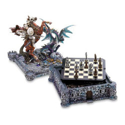 """Koehler Home Decor - Koehler Home Decor Medieval Dragon Chess Set - Dragon and knight medieval chess set, castle game board, game board top slaying dragon sculpture, Polyresin. 11.25"""" diameter x 1"""" length x 12"""" high. Chess pieces: 2.50"""" tall.Material: Polyresin. Size: 11.25"""" diameter x 1"""" length x 12"""" high."""