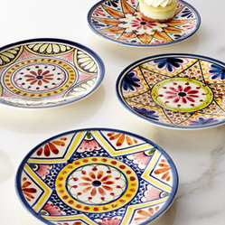"Horchow - Four ""Kaleidoscope Flower"" Appetizer Plates - An engaging floral design reinvented kaleidoscope fashion makes these appetizer plates the perfect addition to casual entertaining. Handcrafted of earthenware. Hand painted. Dishwasher and microwave safe. Set includes four assorted designs. Each pl..."