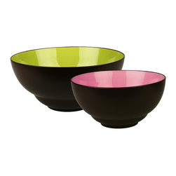 Waechtersbach - Duo Set of 2 Serving Bowls Duo - What an entertaining pair! Each serving bowl is crafted from porcelain and finished on the outside with a matte chocolate glaze. The large bowl holds 4 quarts and features a glossy mint interior. The smaller bowl holds 56 ounces and boasts a fuchsia interior. Used separately or together, they're sure to add life to your next party.