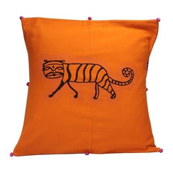 "Sitara Collections - Orange Tiger Cushion Cover - 16"" X 16"" - The Luscious Hue of this inspired Cushiom Cover instantly Perks Up any Room. a Hand-Embroidered Tiger is the Highlight of the Cover, Which is Crafted From Cottom Hand-Blocked Fabric. Eight Small Poms add another Layer of Visual interest. Material: Cottom Fabric, Coated Thread. Hand-Embroidered. includes (1) Pillow Cushiom. Dimensioms: 16"" X 16 ""."
