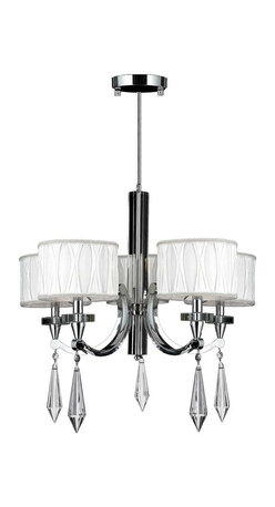 """Worldwide Lighting - Cutlass 5 Light Arm Chrome Finish Crystal Chandelier 26"""" with White Fabric Shade - This stunning 5-light chandelier only uses the best quality material and workmanship ensuring a beautiful heirloom quality piece. Featuring a radiant chrome finish, beautiful curved arms with fabric shades which support 5 candelabra lights and crystal embellishments made of finely cut premium grade 30% full lead crystal, this chandelier will give any room sparkle and glamour. Worldwide Lighting Corporation is a privately owned manufacturer of high quality crystal chandeliers, pendants, surface mounts, sconces and custom decorative lighting products for the residential, hospitality and commercial building markets. Our high quality crystals meet all standards of perfection, possessing lead oxide of 30% that is above industry standards and can be seen in prestigious homes, hotels, restaurants, casinos, and churches across the country. Our mission is to enhance your lighting needs with exceptional quality fixtures at a reasonable price."""