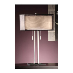 """Crestview - Crestview CVACR957 Altus Twin Light Table Lamp - Altus Twin Light Table Lamp Metal Table Lamp in Chrome and Black Finish (9/17x9/17x9"""" Rectangle Double Shade Linen and Black Sheer Fabrics) 60w x 2 max wattage bulb 29"""" Ht."""