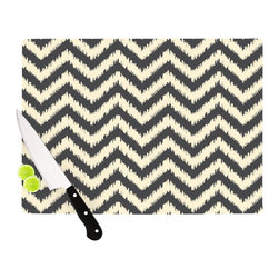 "Kess InHouse - Amanda Lane ""Moonrise Chevron ikat"" Cutting Board (11"" x 7.5"") - These sturdy tempered glass cutting boards will make everything you chop look like a Dutch painting. Perfect the art of cooking with your KESS InHouse unique art cutting board. Go for patterns or painted, either way this non-skid, dishwasher safe cutting board is perfect for preparing any artistic dinner or serving. Cut, chop, serve or frame, all of these unique cutting boards are gorgeous."