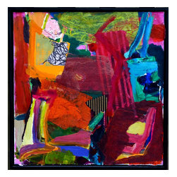 Abstract Still Life #4, Original, Mixed Media - A lively and colorful composition floated in a black wood frame incorporating areas of collage.
