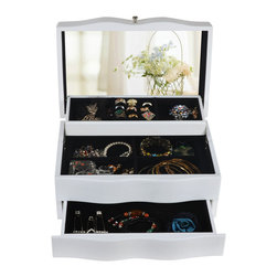 GLD - Jewelry Box Mirrored Jewelry Organizer Cosmetics Box Cabinet, White - The Mini Style Mirror Jewelry Armoire is the perfect and fashion way to organize all your jewelry and accessories! Now you can store and organize all your jewlery and beauty essentails. No longer will mornings be a stressful hunt for matching earrings, bracelets, necklaces, now you will find them hanging at eye level. You will have fun adding your jewelry collection to this armoire. This item is MDF wood Material with painting,no halmful to health and environment. Small size design with free standing ,can put on your table