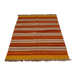 Hand Woven Flat Weave Striped Durie Kilim 3'X5' 100% Wool Oriental Rug SH7052 - Soumaks & Kilims are prominent Flat Woven Rugs.  Flat Woven Rugs are made by weaving wool onto a foundation of cotton warps on the loom.  The unique trait about these thin rugs is that they're reversible.  Pillows and Blankets can be made from Soumas & Kilims.