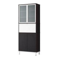 IKEA of Sweden/K Malmvall/E Lilja-Löwenhielm - EFFEKTIV Storage combination with doors - Storage combination with doors, black-brown, glass