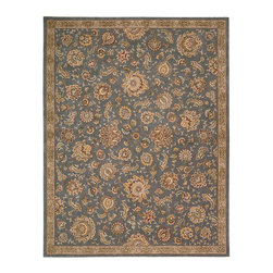"""Nourison - Nourison 2000 2360 9'9"""" x 13'9"""" Slate Area Rug 19357 - Grand, glorious and gilded, this gorgeous old world design shimmers and shines in moonlit shades of slate, ash, gold, black and crimson. Handmade from lavish wool and deftly woven with sumptuous silk, this thrilling rug is unsurpassed in its look and feel."""