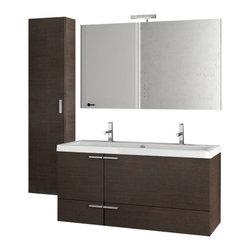 ACF - 47 Inch Wenge Bathroom Vanity Set - Set Includes: Vanity Cabinet (2 Doors,2 Drawers), high-end fitted ceramic sink, wall mounted vanity mirror, tall storage cabinet.