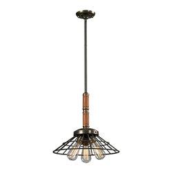 Elk Lighting - Elk Lighting Spun Wood Collection 3 Light Pendant In Vintage Rust - 14234/3 - 3 Light Pendant In Vintage Rust - 14234/3 in the Spun Wood collection by Elk Lighting   Pendant (1)