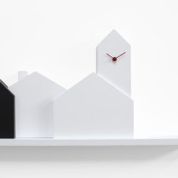 TOWN cuckoo clock - With a startling contrast of modern design and rustic charm, the Town Cuckoo Clock by Progetti is inspired by the picturesque small towns and villages of Italy and finished with an aesthetically arresting two tone colour scheme.