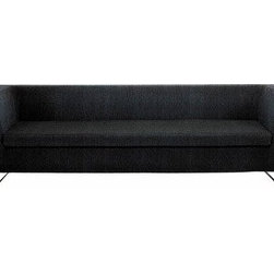 Blu Dot - Blu Dot | Bonnie Sofa - The slick, well-tailored Bonnie Sofa is bound to steal the scene in today's modern living spaces. Featuring single-cushion bench seating and level back and arms, Bonnie rests on graceful steel legs. A selection of durable polyester/poly-blend fabrics are offered for the neatly upholstered frame and provide durable, long wearing seating. Also offered: partner in crime, Clyde or paired with Clyde as the Bonnie & Clyde Sectional. Select Coal, Cocoa, Pebble or Stone.