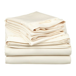 1500 Thread Count Egyptian Cotton Queen Ivory Solid Sheet Set - 1500 Thread Count oversized Queen Ivory Solid Sheet Set 100% Egyptian Cotton