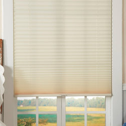 None - Light-Filtering Ivory Cordless Pleated Shades - These light filtering cordless shades provide energy saving insulation while reducing outside light and noise. These shades come in an ivory finish to complement any decor.