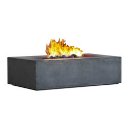 Real Flame - Real Flame Baltic Rectangle Fire Table - Real Flame - Fireplaces - T9650NGGLG -Define your outdoor space with the clean design of a Real Flame Baltic rectangular Natural Gas fire table. Cast from a high performance, lightweight fiber-concrete that is tinted to the finish color for increased outdoor durability. Includes NG fire table, lid, 50,000 BTU burner, small brown lava rock, electronic ignition, leveling feet, 10' gas hose, and a protective storage cover.