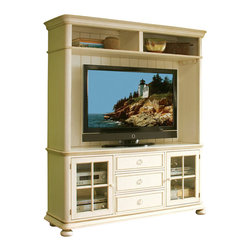 Riverside Furniture - Riverside Furniture Placid Cove TV Console with Hutch Set in Honeysuckle White - Riverside Furniture - TV Stands - 1674016742Set - Riverside uses furniture construction techniques and select materials to provide quality durability and value in their products. The construction of Riversides core product line consists of a combination of cabinetmaker hardwood solids and hand-selected veneers applied over medium density fiberboard (MDF) and particle board. MDF and particle board are used in quality furniture for surfaces that require stability against the varying environmental conditions in modern homes.You'll appreciate the multiple-step application of Riverside's furniture finishes. Their finishing processes involve several steps of hand sanding applications of several types of finishing coats padding and polishing.