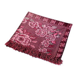 """Blancho Bedding - Flower in Mythology - Dark Red Jacquard Weave Blanket / Area Rug  59.1""""-86.7"""" - The Jacquard Weave Blanket / Tapestry / Area Rug measures 59.1 by 86.7 inches. Whether you are adding the final touch to your bedroom or rec-room, these patterns will add a little whimsy to your decor. Machine wash and tumble dry for easy care. Will look and feel as good as new after multiple washings! This blanket adds a decorative touch to your decor at an exceptional value. Comfort, warmth and stylish designs. This throw blanket will make a fun additional to any room and are beautiful draped over a sofa, chair, bottom of your bed and handy to grab and snuggle up in when there is a chill in the air. They are the perfect gift for any occasion!"""