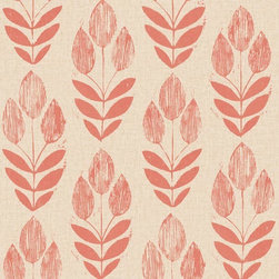 Brewster Home Fashions - Scandinavian Red Block Print Tulip Wallpaper Swatch - Bright and charming this block print designed wall covering with rich Scandinavian influence adorns walls in a fresh coating of red tulips adding a burst of vibrant flavor to any space.