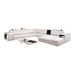 VIG Furniture - Polaris White Top Grain Italian Leather Sectional Sofa - Here's a sectional sofa, storage and lighting all in one. With built-in storage areas and accent lighting at each end of this unique sectional, all you need to add is a coffee table, and you've got a fabulous modern living room that's ready for your friends and family.