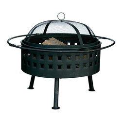 Uniflame - Outdoor Firebowl w Screen Lid in Aged Bronze - Round out your outdoor area with this cozy, comfort-minded firebowl. It has a screen dome lid to keep ashes and wood chips contained. The body features square cutouts along the side and a rich aged bronze-tone finish. It's also an excellent addition to any campsite, too. Aged Bronze Finish. Warranty: 1 year - Limited. 32 in. Dia. x 21.5 in. H (20 lbs.)