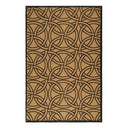 """Martha Stewart Living - Martha Stewart Indoor/Outdoor Area Rug: Links Gold/Black 6' 7"""" x 9' 6"""" - Shop for Flooring at The Home Depot. A bold graphic design, Links features interlocking circles in an overall two-color motif. Its specially developed sisal-like weave is made in Turkey of weather-resistant enhanced polypropylene that can easily be cleaned with a garden hose."""
