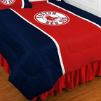 Sports Coverage - MLB Boston Red Sox Sidelines Bedding - Comforter - Full - MLB Boston Red Sox Sideline Comforter looks and feels like a real jersey! A must have for any true fan. New Design - Same great quality! Show your team spirit with this great looking officially licensed Comforter which comes in a new style: Covers are 100% Polyester Jersey top side and Poly/Cotton bottom side, filled with 100% Polyester Batting. Logos are screenprinted. Machine washable in warm water, and tumble dry on low heat. Each comforter has the team logo centered on solid background in team colors. 5.5 oz. Bonded polyester batts. Looks and feels like a real jersey!