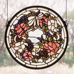 Meyda - 15 Inch W x 15 Inch H Wreath Windows - Color theme: Zasdy pink Pr beige