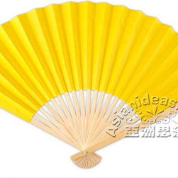 Paper Fans - Dark yellow paper fans appear as bright and radiant as the sun. Made from dark yellow paper on a bamboo frame, these paper fans are sure to double the cheer that your guests will have from your party while they also make great wedding giveaways, token for any occasions, decor for any party, promotional items and for any accessory you can think of. Dark yellow personalized hand fans and white gift box are also available. Facts: