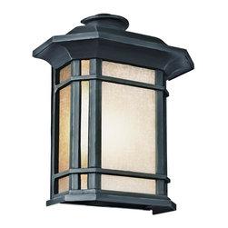 Joshua Marshal - Three Light Black Tea Stained Linen Glass Wall Lantern - Three Light Black Tea Stained Linen Glass Wall Lantern