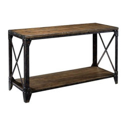 "Lamps Plus - Pinebrook Rectangular Sofa Table - In a beautiful distressed natural pine finish, this old world style sofa table will be a handsome addition to your decor. A perfect blending of wood and metal, the table features a lower shelf for additional storage or display space. Distressed natural pine finish. Pine veneers and solids. Metal frame. Some assembly is required. 50"" wide. 29"" high. 19"" deep."