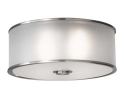 Murray Feiss - Murray Feiss Casual Luxury Flush Mount Ceiling Fixture in Brushed Steel - Shown in picture: Casual Luxury Flushmount in Brushed Steel finish with Silver Organza�Hardback shade w/fabric