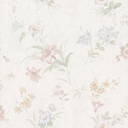 Brewster Home Fashions - Arlette Pastel Satin Floral Toss Wallpaper Bolt - A fanciful wallcovering coated in a luxe silk finish adds fresh floral detail to walls in pretty pastel hues.