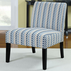 Coaster - 902059 Accent Chair - Add a splash of color to your room with this blue and beige leaf pattern accent chair - the perfect match to our Finley collection (#504321-504323).