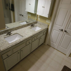 Countertop Height Bathroom : We updated this bathroom by removing the original countertop, raising ...