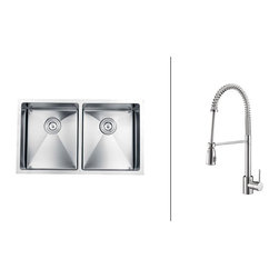 """Ruvati - RVC2316 Stainless Steel Kitchen Sink and Polished Chrome Faucet Set - Ruvati sink and faucet combos are designed with you in mind. We have packaged one of our premium 16 gauge stainless steel sinks with one of our luxury faucets to give you the perfect combination of form and function.; Set includes Stainless Steel Sink, Polished Chrome Faucet, Sink Bottom Grids, Basket Strainer(s) and Cutout Template; Soap Dispenser Not Included; Flow Rate: 2.2 GPM; Sink constructed of 16 gauge premium 304 grade stainless steel (18/10 Chromium/Nickel content); Sink features luxurious brushed satin finish - easy to clean and long-lasting; Heavy duty sound guard padding and undercoating on sink minimizes noise; Faucet features solid brass construction for long lasting durability; Ceramic disc Sedal cartridge ensures your faucet will stay free of drips and leaks; Flexible coil spout with pull-out head; Faucet can be installed in up to 2"""" thick countertops; Limited lifetime warranty on sink. 1 year warranty on faucet.; Weight: 59 lbs; Dimensions: Sink: 32"""" x 19"""" (Exterior), Bowl Depth: 10""""; Faucet: Height: 20.47"""" Spout Height: 9.84"""" Spout Reach: 6.21"""""""