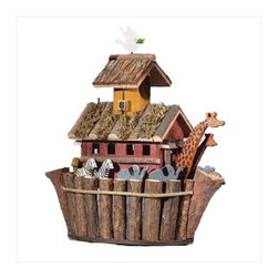"""Anzy - Wood Noah Ark's Birdhouse - Two by two, the animals go in this one-of-a-kind birdhouse overflowing with fanciful fun! Measures:  12 1/2"""" x 6 1/2"""" x 12 1/2"""" high."""