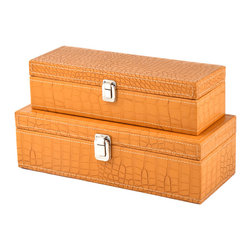 "Traders and Company - Faux Crocodile Skin Latched Jewelry Boxes, Set of 2 - Lg = 15""Lx6""Wx4.5""H - European-inspired faux crocodile skin trunks, trays, boxes and carry-alls. Reminiscient of early 20th century railway fashion; bright and classic looking pieces warm and enliven a space while providing functional storage and stylish display. Alternate shapes & styles sold separately. Dimensions: Lg = 15""Lx6""Wx4.5""H, Sm = 13.25""Lx4.75""Wx3.75""H"