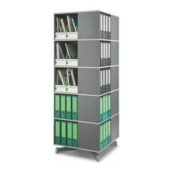 """Empire Office Solutions - Moll Spin and Store Binder Storage Carousel - Five Tier in Graphite Wood - Perfect for the corner of an office, classroom or library, this shelving column turns uniformly in a full 360° rotation and offers all-around access to books, binders and supplies. Each tier contains four 14"""" wide x 11"""" deep compartments and holds almost twice as many binders and books per level as a traditional 27"""" wide bookcase shelf."""